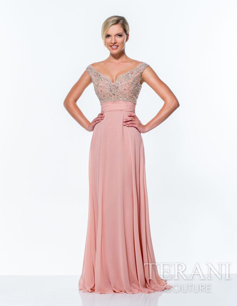 Rožinė ilga proginė suknelė 151E0258-back