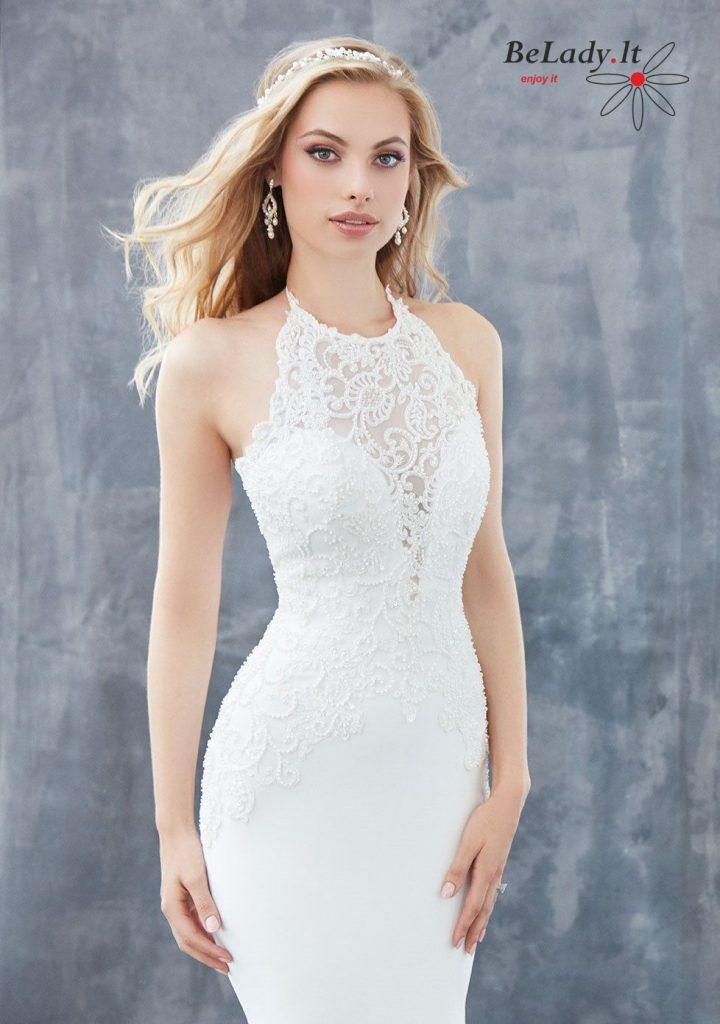 Vestuvinė suknelė atidengtais pečiais per kaklą