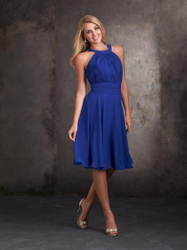 Mėlyna proginė suknelė iki kelių 1426F