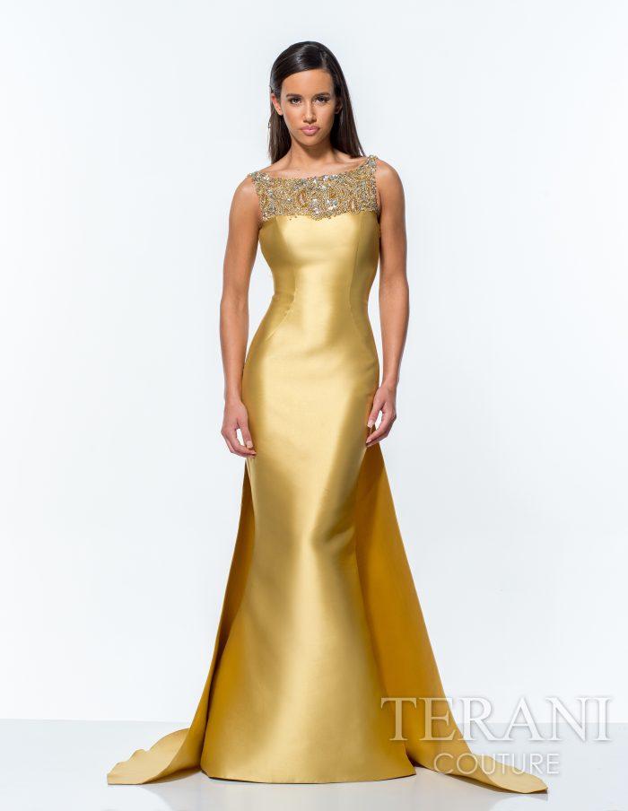 Ilga prabangi auksinė suknelė 151E0297