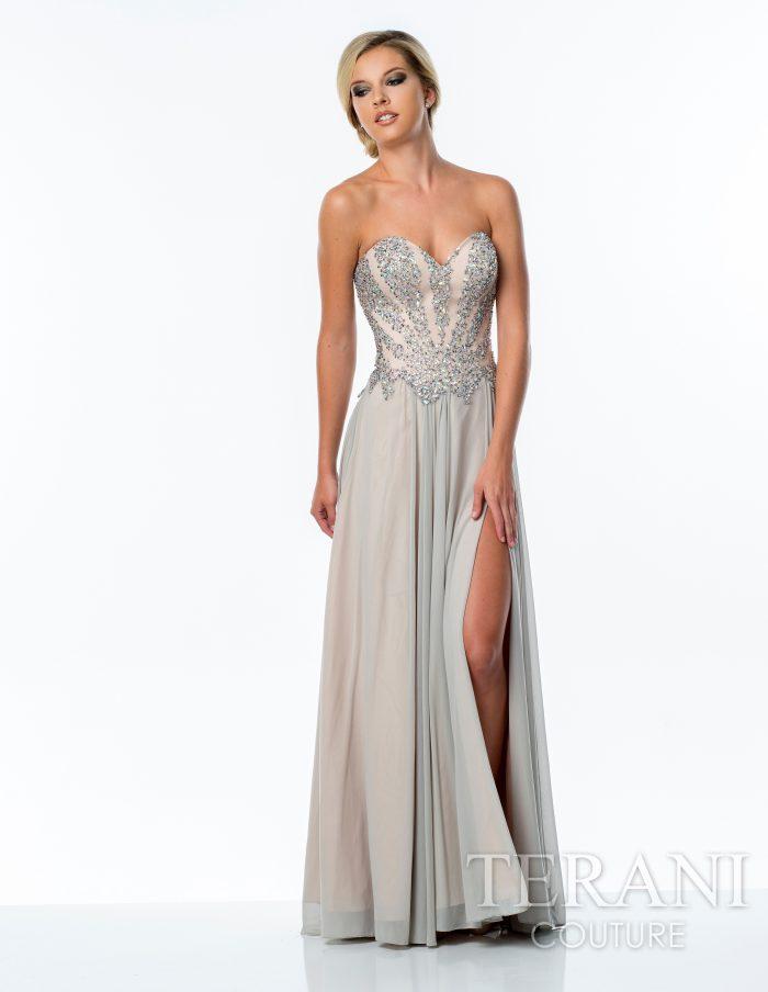 Proginė Terani Couture suknelė atvirais pečiais