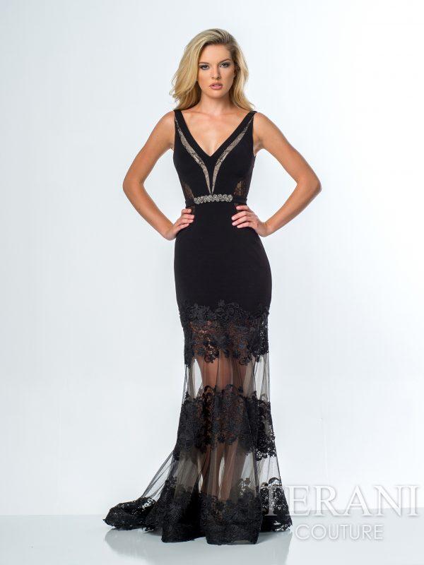 Juoda prabangi suknelė nuomai 151P0062