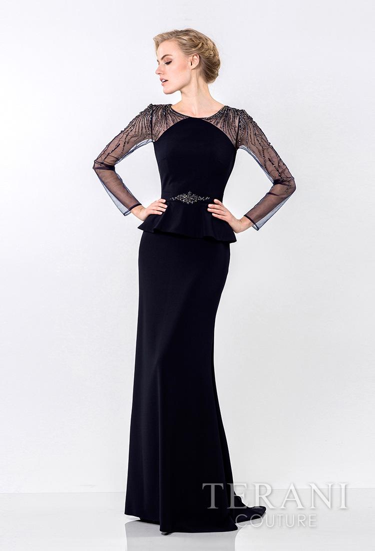 Elegentiška proginė suknelė ilgomis rankovėmis