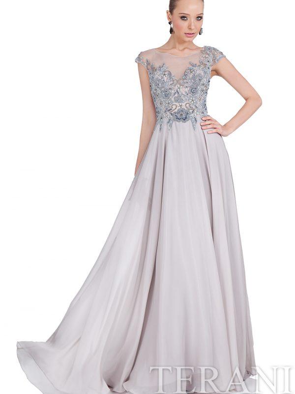 Sidabro spalvos lengva proginė suknelė