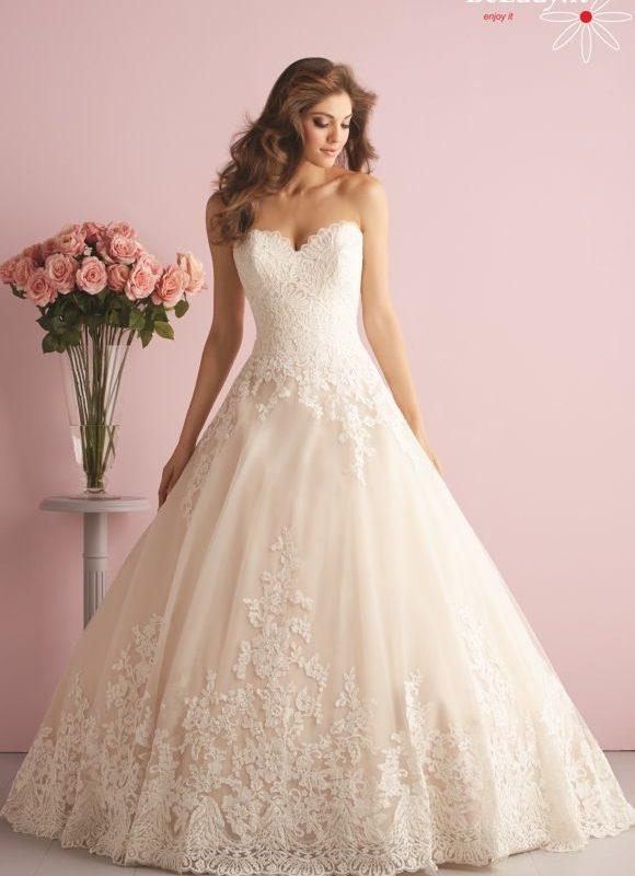 Šampano spalvos vestuvinių suknelių nuoma 20_2701B