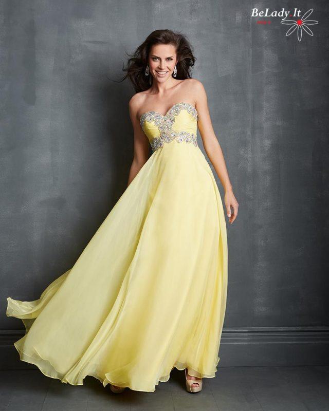 Geltona suknelė atvirais pečiais