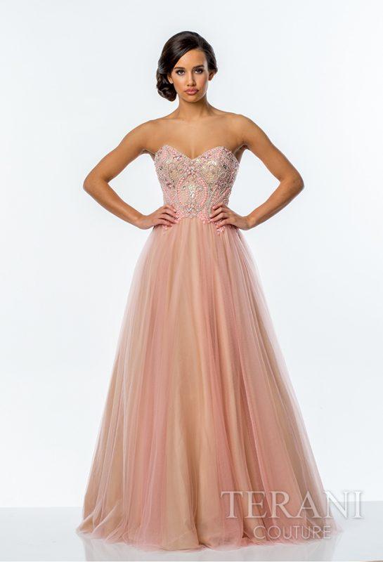 Pūsta prabangi suknelė švelnios spalvos