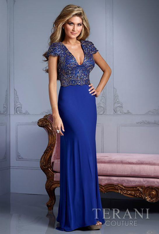 Mėlyna Terani Couture prabangi proginė suknelė gilia iškirpte
