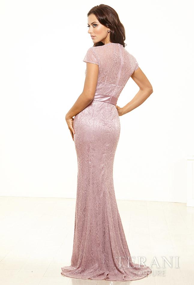 Pelenų rožes spalvos proginė suknelė trumpomis rankovėmis