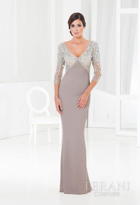 Proginė Terani suknelė 3/4 rankovėmis su kristalais