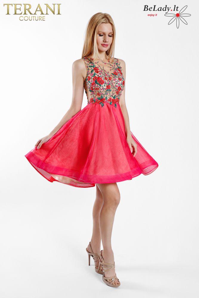 Trumpa raudona suknelė išleistuvėms
