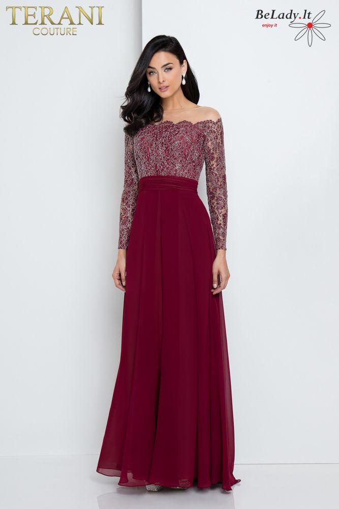 Lengvo kritimo proginė suknelė ilgomis rankovėmis
