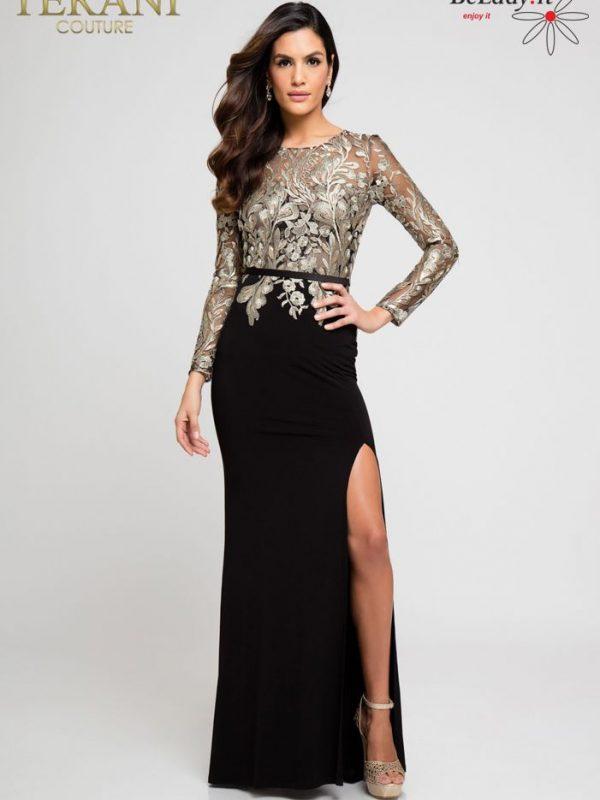 Juoda proginė suknelė ilgomis rankovėmis