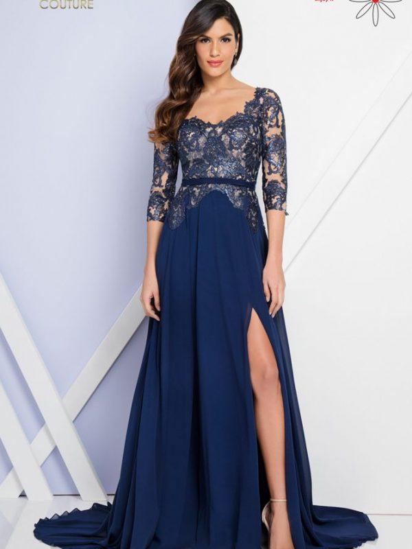 Ilga proginė suknelė su rankovėmis