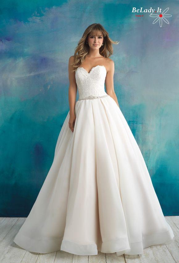 Pūsta vestuvinė suknelė giliomis klostėmis