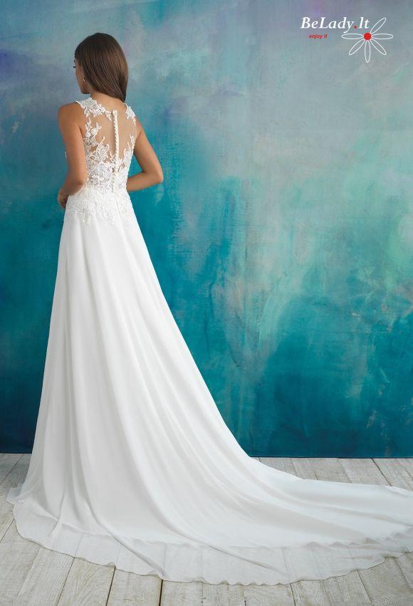 Lengvo kritimo vestuvinė suknelė