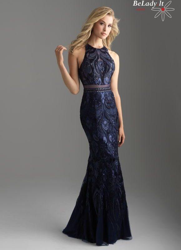 Mėlyna suknelė atvirais pečiais18-604