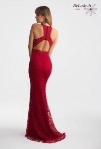 Raudona nėrinių suknelė 18-706