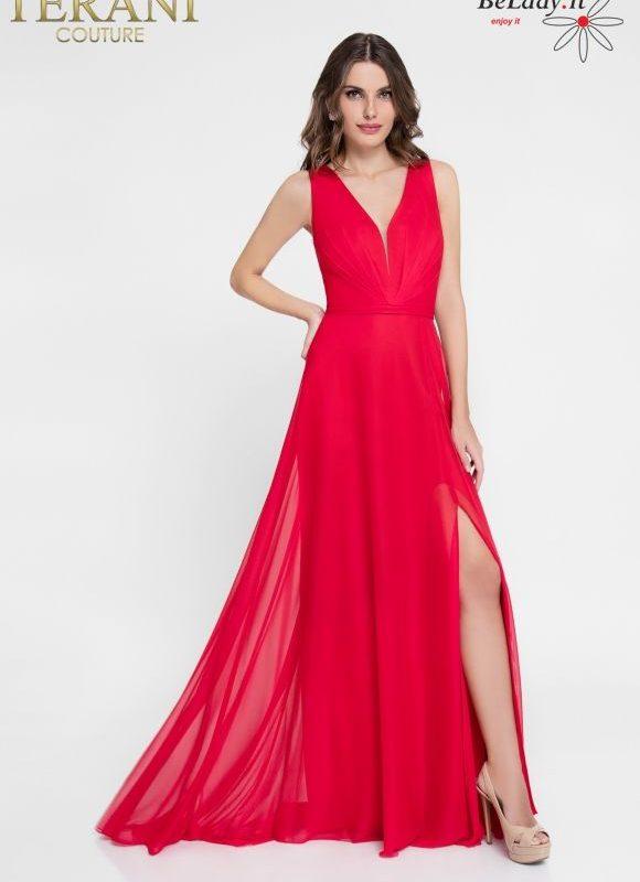 Raudona proginė suknelė su skeltuku