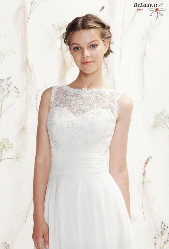 Lengva vestuvinė suknelė iš šifono