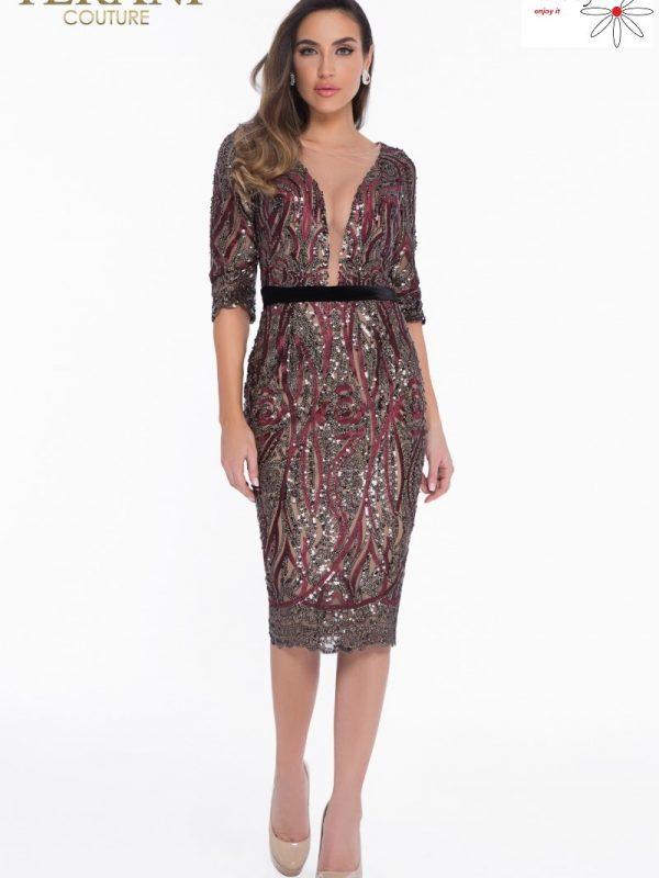 Kokteilinė suknelė 3/4 rankovėmis 1821C7012