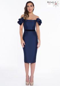 Mėlyna kokteilinė suknelė nuleistais pečiais 1821C7941