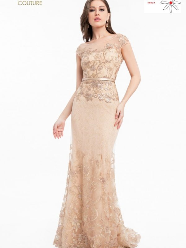 Auksinė proginė suknelė vestuvėms
