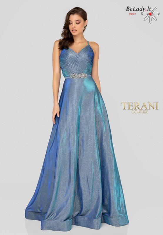 Blizganti proginė suknelė ant petnešėlių