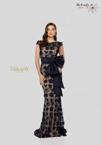 Mėlyna proginė suknelė su kaspinu 1912E9175