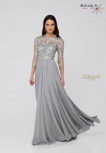 Sidabro spalvos proginė suknelė 3/4 rankovėmis