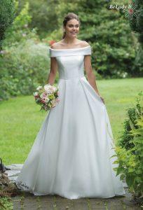 Minimalistinio stiliaus vestuvinė suknelė