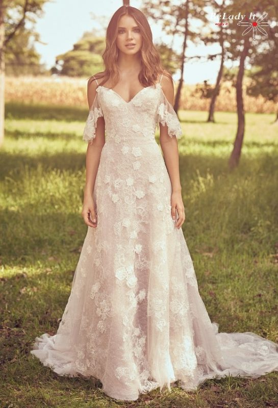 Boho stiliaus 2020 vestuvine suknele