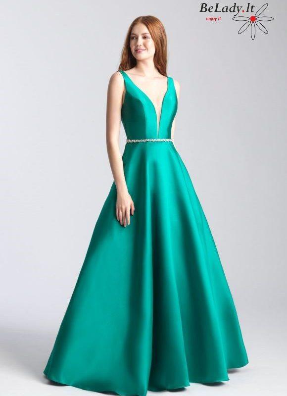 Smaragdo spalvos mikado proginė suknelė