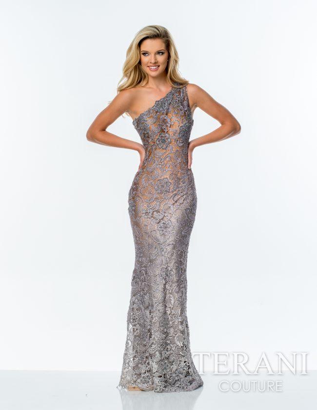 Proginė suknelė per vieną petį sidabro spalvos