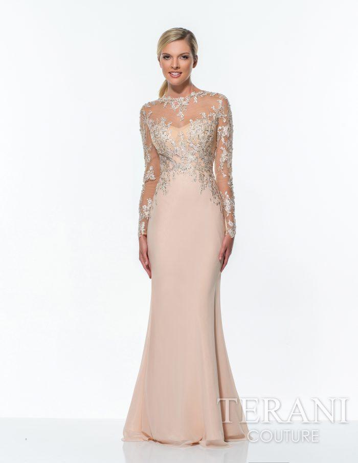 Šampano spalvos proginė suknelė su rankovėmis 151E0296-back
