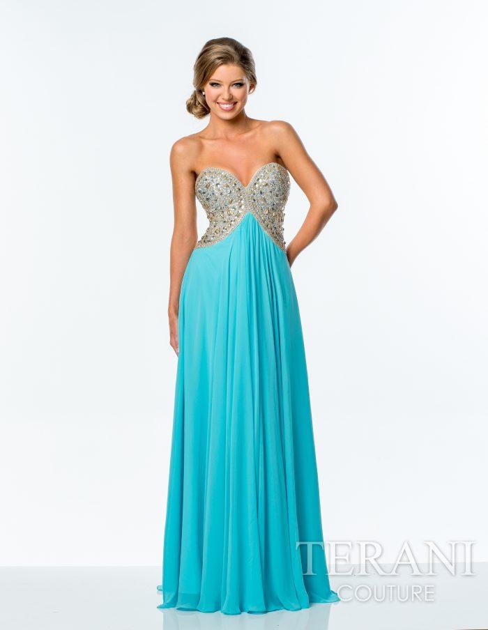 Žydra proginė suknelė Terani Couture 151P0026