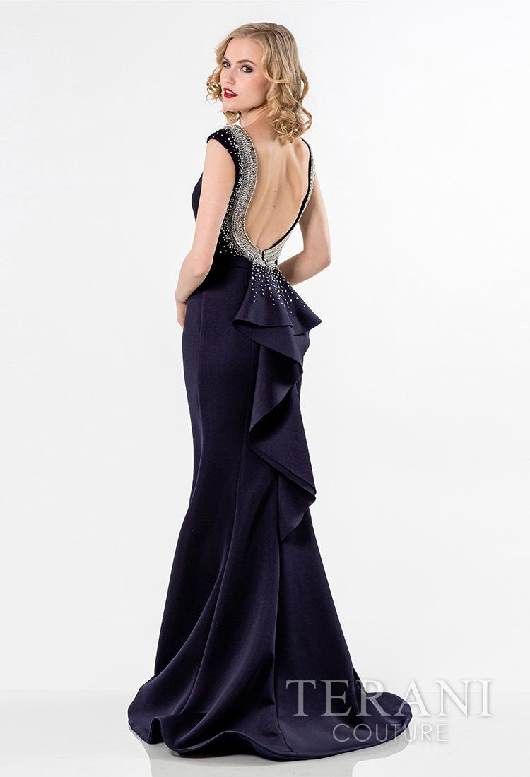 Mėlyna proginė suknelė atvira nugara