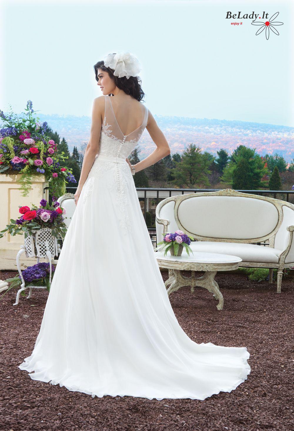 Lengva šifono vestuvinė suknelė