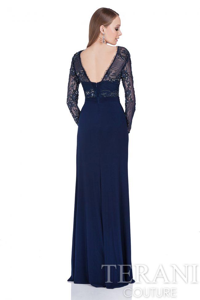 Mėlyna proginė suknelė ilgomis rankovėmis