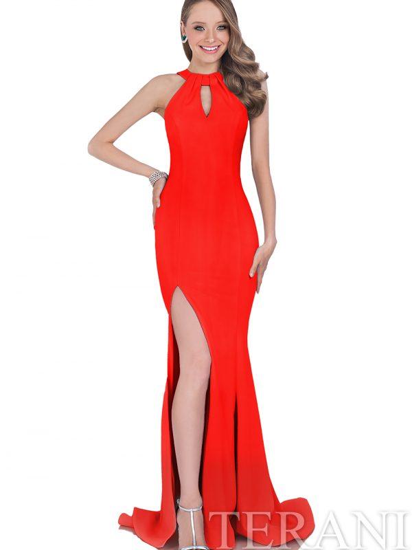 Raudona proginė suknelė su šleifu