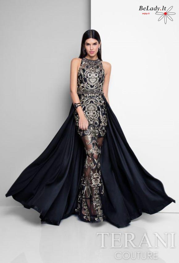 Prabangi juoda proginė suknelė su šleifu