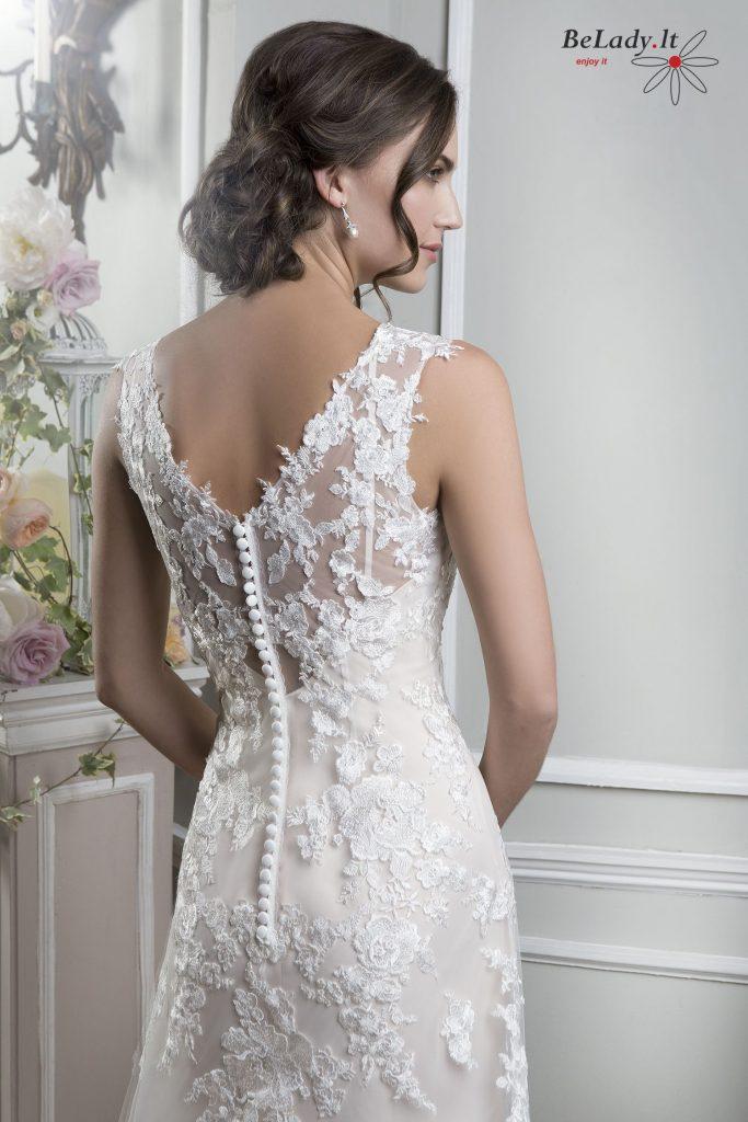 Tiesi vestuvinė suknelė be rankovių