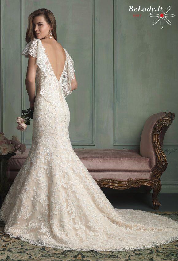 Undinėlės formos vestuvinė suknelė iš nėrinių 26_9123B