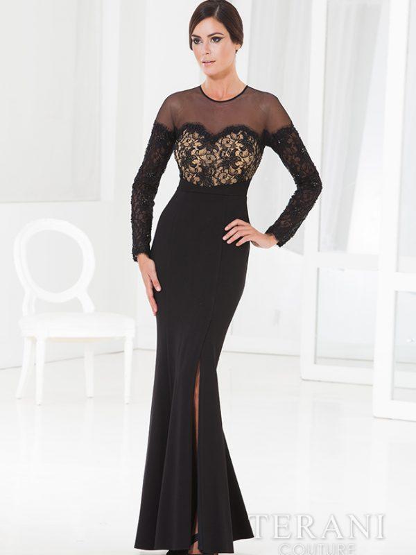 Juoda suknelė ilgomis rankovėmis