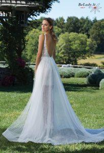 dviejų dalių vestuvinė suknelė su nuimamu sijonu