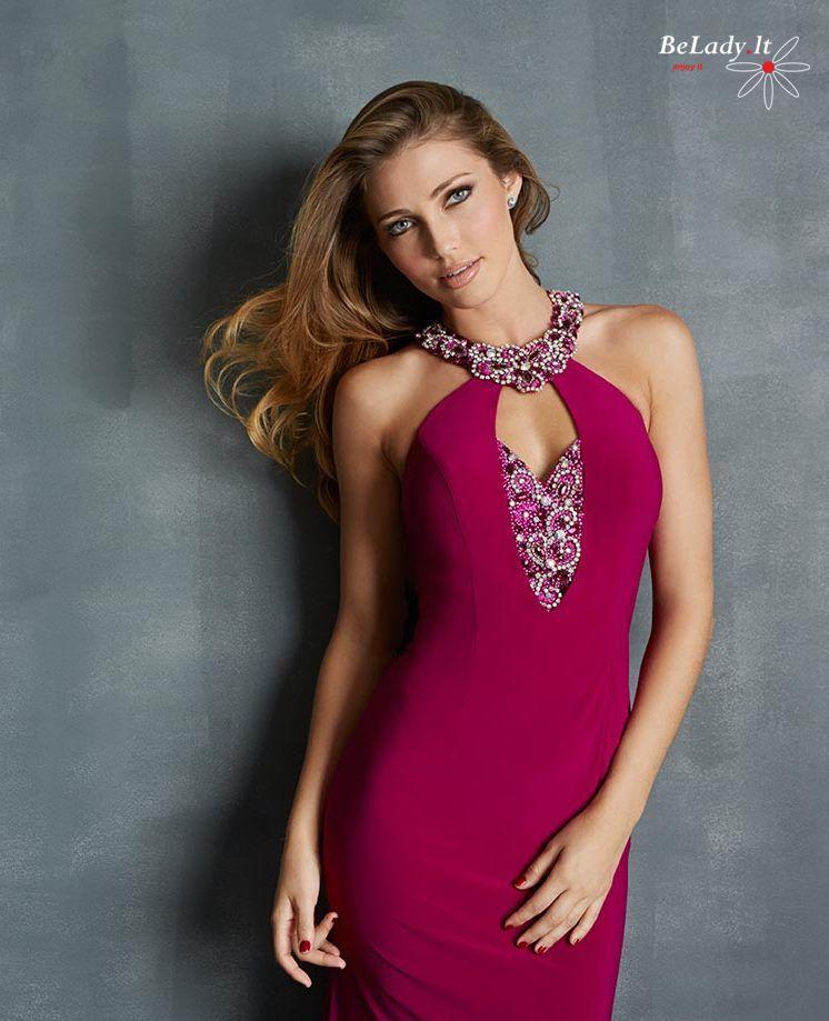 Violetinė proginė suknelė 7067H-Magenta