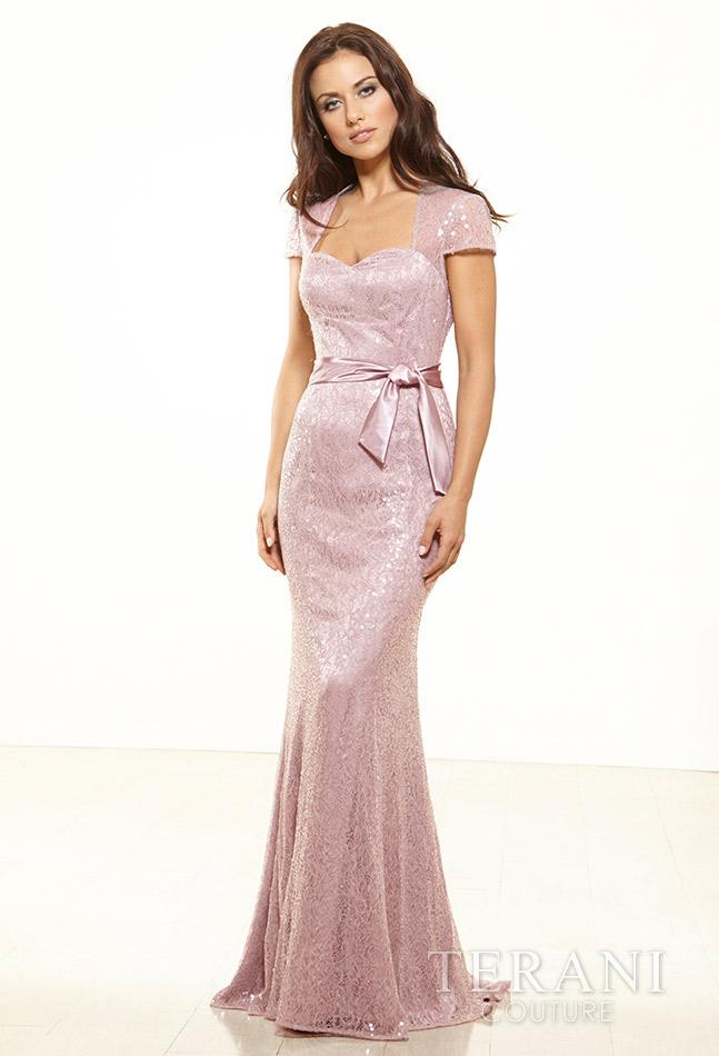 Pelenų rožes spalvos proginė suknelė trumpomis rankovėmis Terani