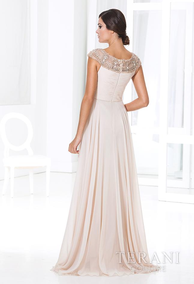 Šampano spalvos vakarinė suknelė M3803