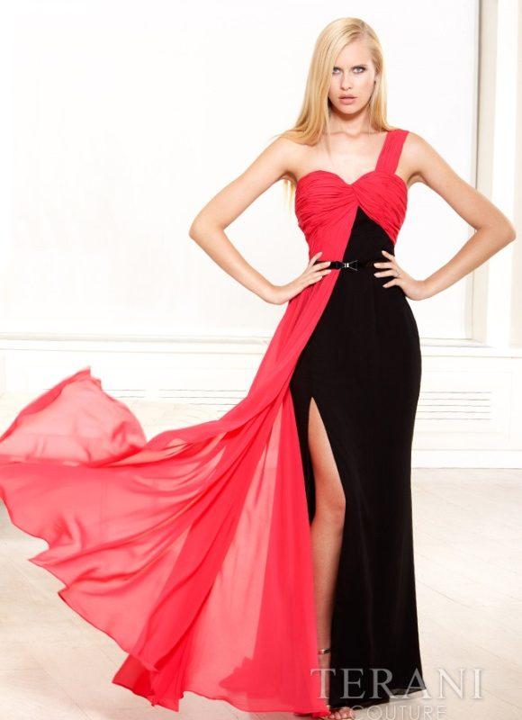 Dviejų spalvų proginė suknelė su skeltuku