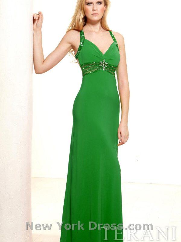 Proginė Terani suknelė atvira nugara smaragdo spalvos